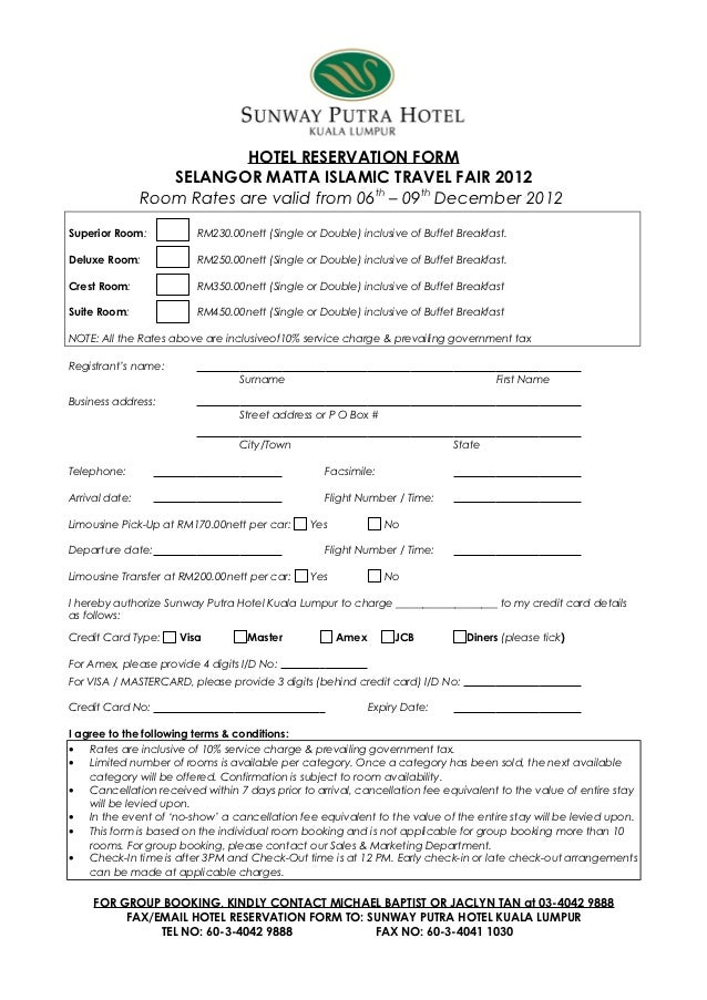 Hotel Reservation Form: Selangor Matta Islamic Travel Fair 2012 From …