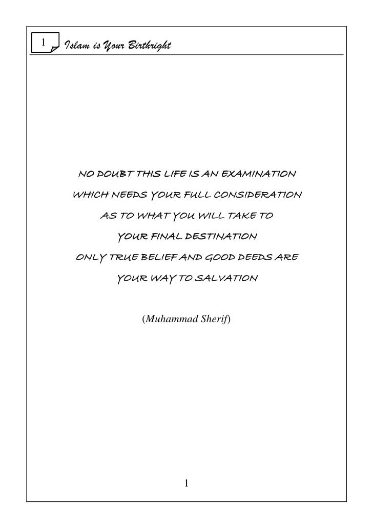 Islam Is Your Birthright Dec  2009 Slide 2