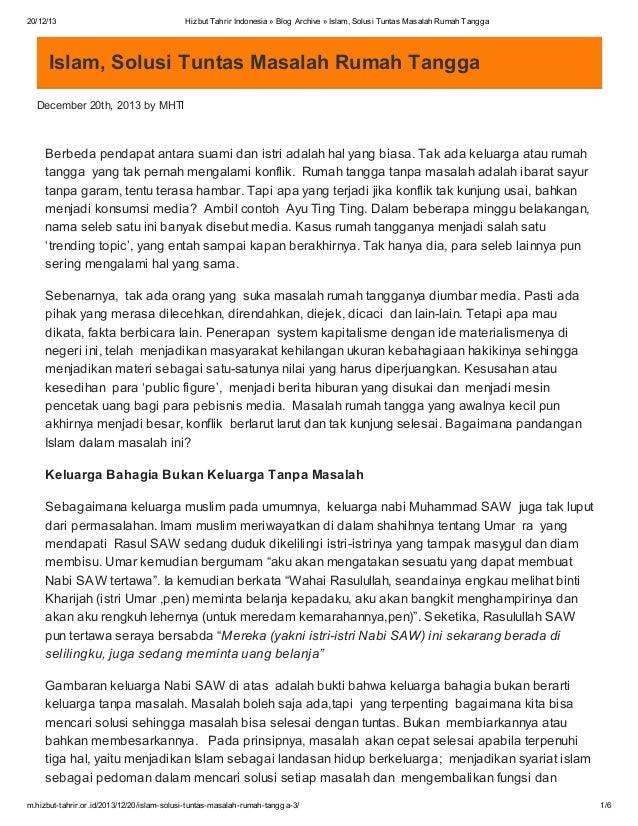 20/12/13  Hizbut Tahrir Indonesia » Blog Archive » Islam, Solusi Tuntas Masalah Rumah Tangga  Islam, Solusi Tuntas Masalah...