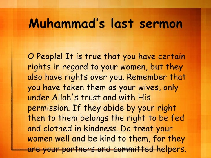 Universal Charter : The Last Sermon of Holy Prophet