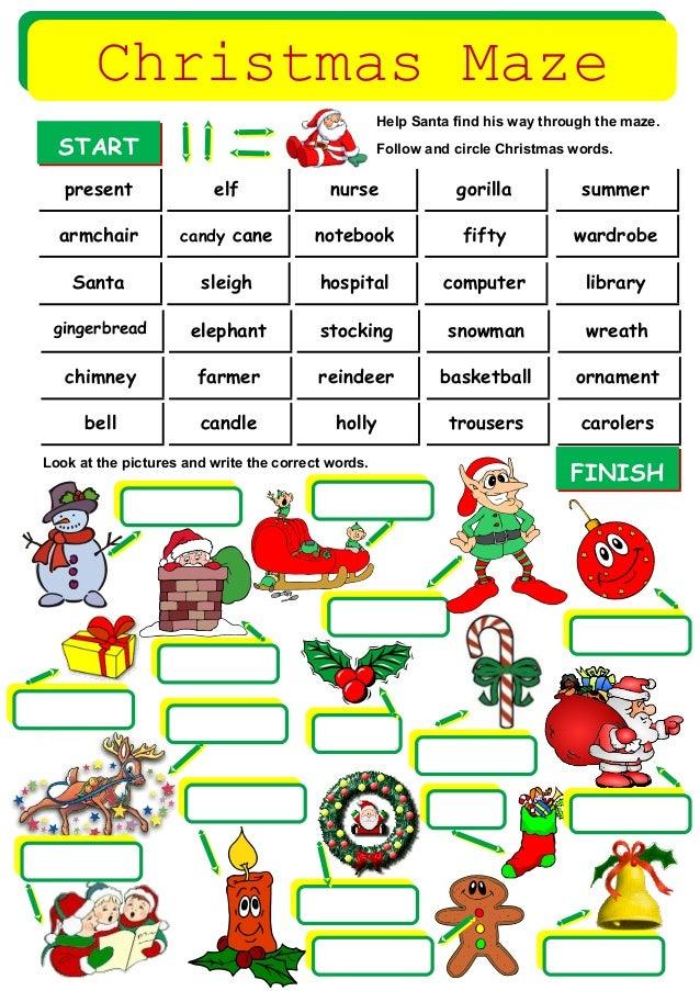 Christmas maze-vocabulary