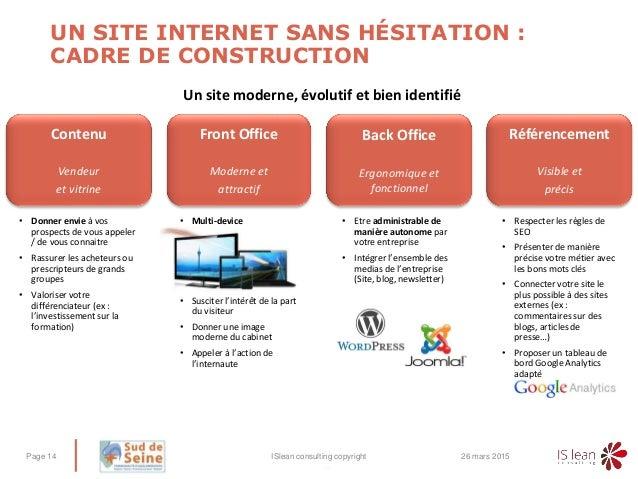 – UN SITE INTERNET SANS HÉSITATION : CADRE DE CONSTRUCTION 26 mars 2015ISlean consulting copyrightPage 14 Contenu Vendeur ...
