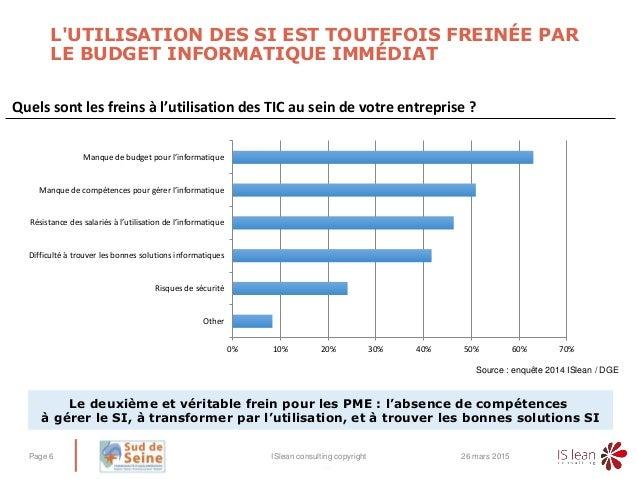 – L'UTILISATION DES SI EST TOUTEFOIS FREINÉE PAR LE BUDGET INFORMATIQUE IMMÉDIAT 26 mars 2015ISlean consulting copyrightPa...