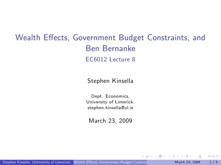 Wealth Effects, Government Budget Constraints, and                          Ben Bernanke                                   ...