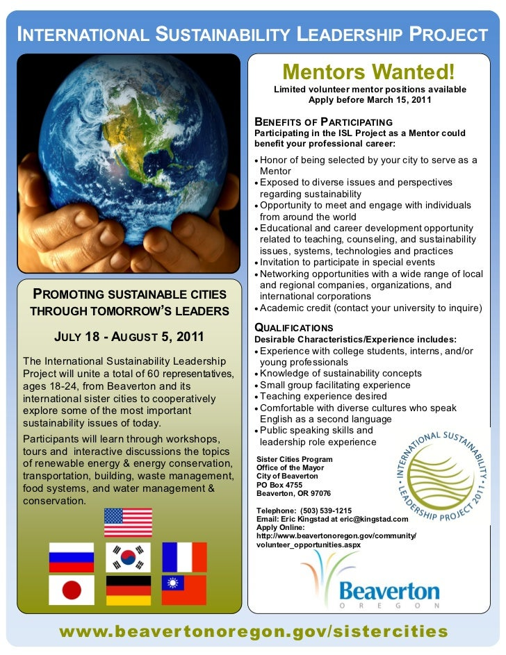 INTERNATIONAL SUSTAINABILITY LEADERSHIP PROJECT                                                           Mentors Wanted! ...