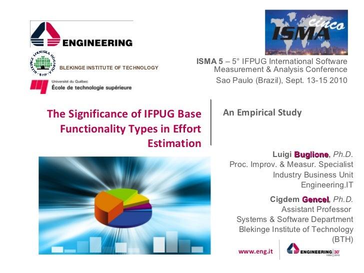 ISMA 5 – 5° IFPUG International Software  BLEKINGE INSTITUTE OF TECHNOLOGY       Measurement & Analysis Conference        ...