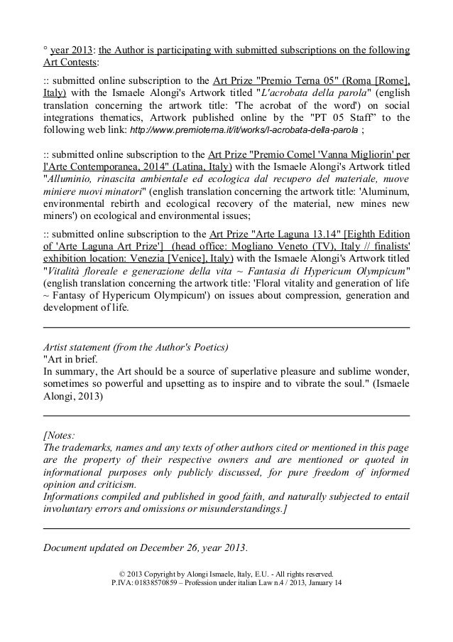 Ismaele Alongi Artistic Curriculum Vitae English Updated 2013 1