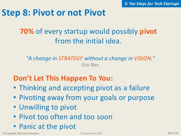 102 / 113 Step 8: Pivot or not Pivot Don't Let This Happen To You: • Thinking and accepting pivot as a failure • Pivoting ...