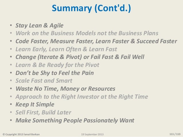 111 / 11319 September 2013© Copyright 2013 İsmail Berkan • Stay Lean & Agile • Work on the Business Models not the Busines...