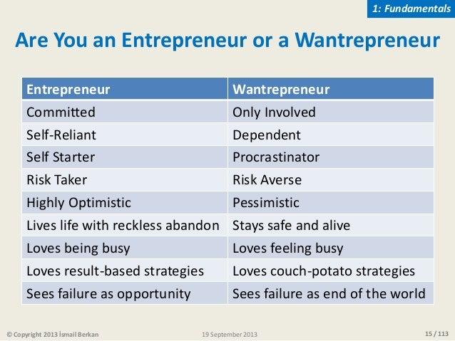 15 / 11319 September 2013© Copyright 2013 İsmail Berkan Are You an Entrepreneur or a Wantrepreneur Entrepreneur Wantrepren...