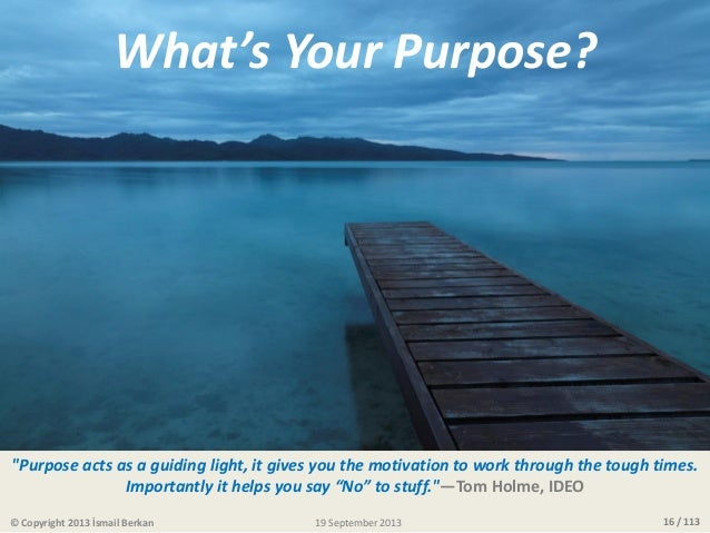 """16 / 113 What's Your Purpose? """"Purpose acts as a guiding light, it gives you the motivation to work through the tough time..."""