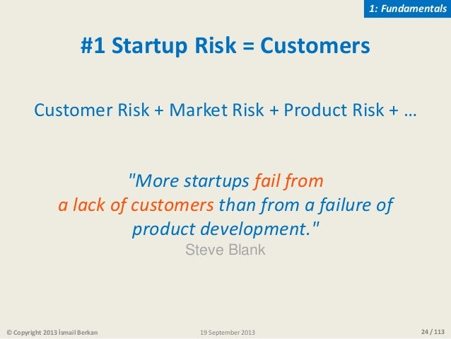 """24 / 113 """"More startups fail from a lack of customers than from a failure of product development."""" Steve Blank #1 Startup ..."""