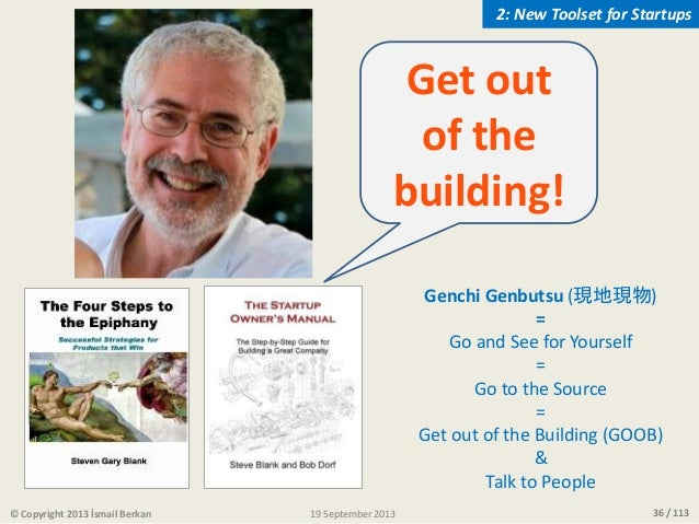 36 / 113 Get out of the building! Genchi Genbutsu (現地現物) = Go and See for Yourself = Go to the Source = Get out of the Bui...