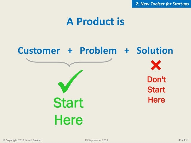 39 / 113© Copyright 2013 İsmail Berkan A Product is Customer + Problem + Solution Don't Start Here Start Here 2: New Tools...