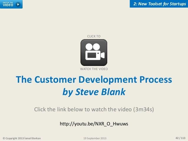 42 / 113© Copyright 2013 İsmail Berkan 2: New Toolset for Startups 19 September 2013 The Customer Development Process by S...