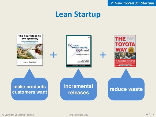 45 / 113 + incremental releases make products customers want + reduce waste Lean Startup © Copyright 2013 İsmail Berkan 2:...