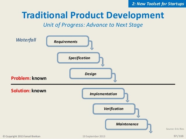 57 / 113© Copyright 2013 İsmail Berkan Traditional Product Development Unit of Progress: Advance to Next Stage Waterfall R...