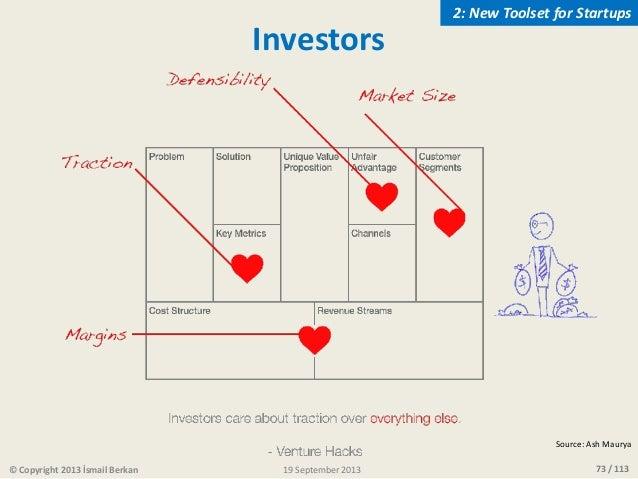 73 / 113 Investors Source: Ash Maurya © Copyright 2013 İsmail Berkan 2: New Toolset for Startups 19 September 2013