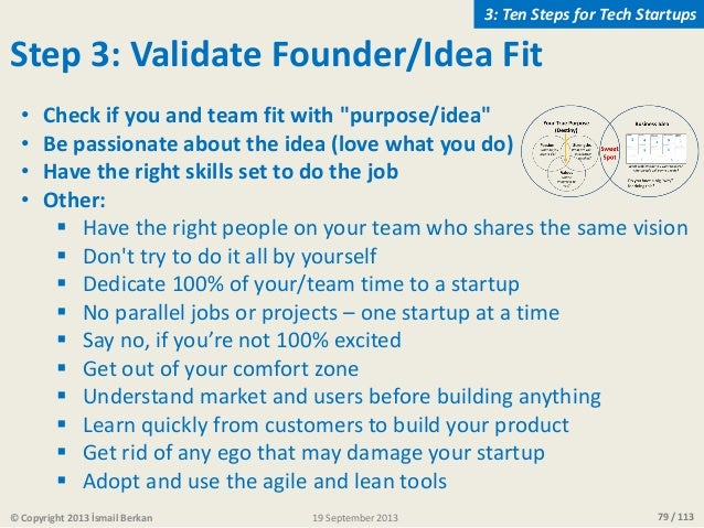 """79 / 113 Step 3: Validate Founder/Idea Fit • Check if you and team fit with """"purpose/idea"""" • Be passionate about the idea ..."""