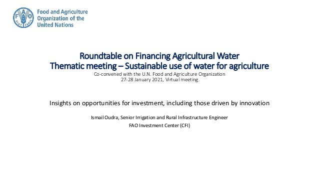 Roundtable on Financing Agricultural Water Thematic meeting – Sustainable use of water for agriculture Co-convened with th...
