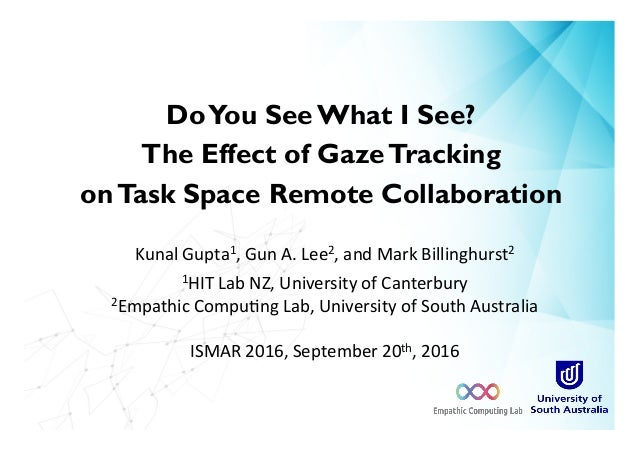 DoYou See What I See? The Effect of GazeTracking onTask Space Remote Collaboration Kunal	Gupta1,	Gun	A.	Lee2,	and	Mark	Bil...