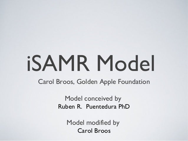 iSAMR Model Carol Broos, Golden Apple Foundation Model conceived by Ruben R.  Puentedura PhD Model modified by Carol Broos