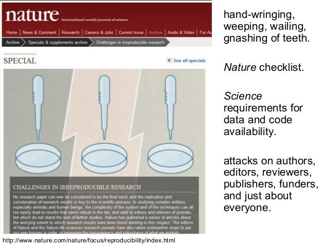 hand-wringing, weeping, wailing, gnashing of teeth. Nature checklist. Science requirements for data and code availability....