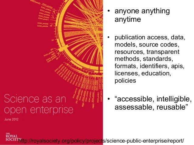 • anyone anything anytime • publication access, data, models, source codes, resources, transparent methods, standards, for...