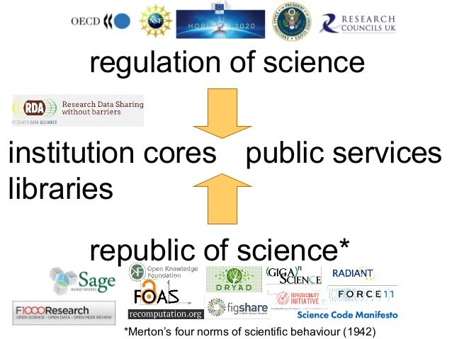 regulation of science institution cores public services libraries republic of science* *Merton's four norms of scientific ...