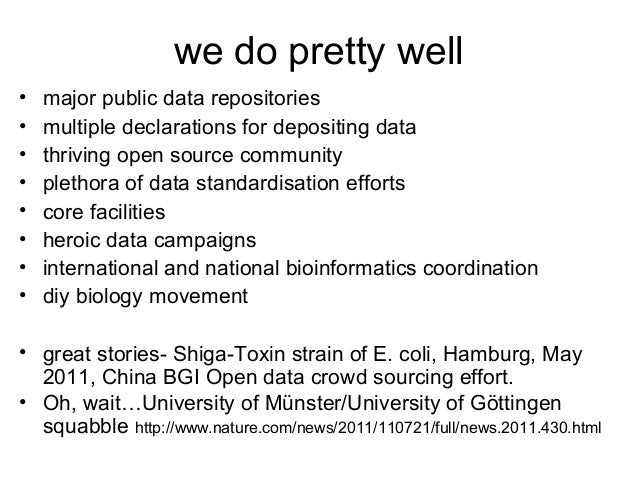 we do pretty well • • • • • • • •  major public data repositories multiple declarations for depositing data thriving open ...