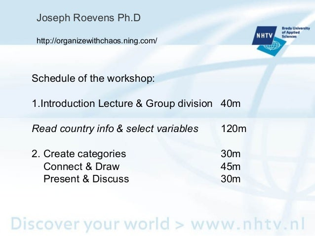 Schedule of the workshop: 1.Introduction Lecture & Group division 40m Read country info & select variables 120m 2. Create ...
