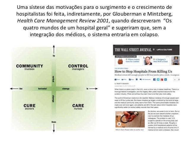 Uma sístese das motivações para o surgimento e o crescimento de hospitalistas foi feita, indiretamente, por Glouberman e M...