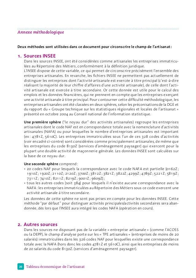 20 Tableau économique de l'artisanat Annexe méthodologique Deux méthodes sont utilisées dans ce document pour circonscrire...