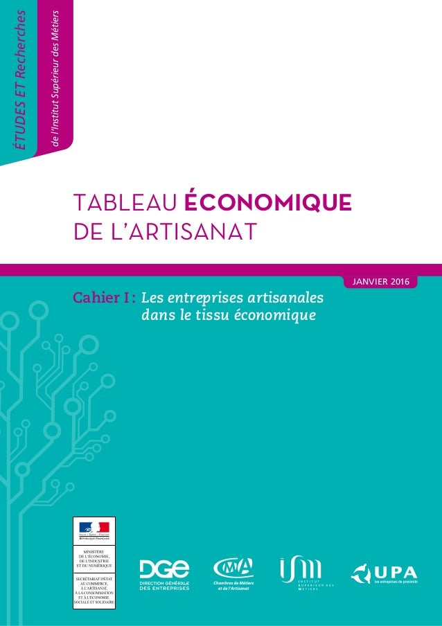 1Tableau économique de l'artisanat 2015 TABLEAU ÉCONOMIQUE DE L'ARTISANAT ÉTUDESETRecherches del'InstitutSupérieurdesMétie...