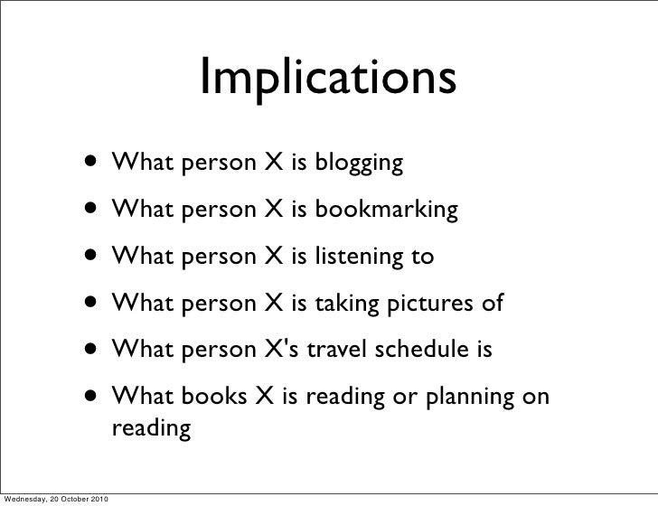 Implications                    • What person X is blogging                    • What person X is bookmarking             ...