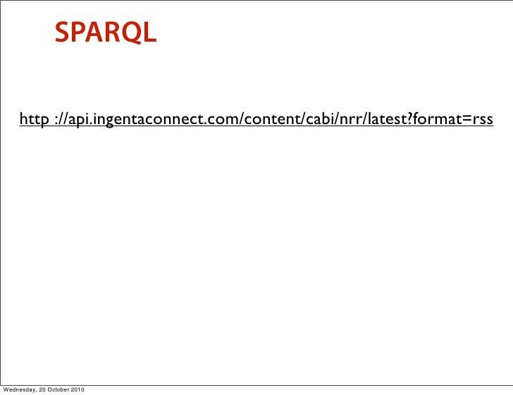 SPARQL       http ://api.ingentaconnect.com/content/cabi/nrr/latest?format=rss     Wednesday, 20 October 2010
