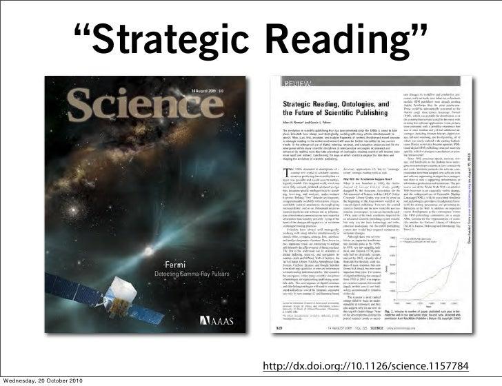 """Strategic Reading""                                     http://dx.doi.org://10.1126/science.1157784 Wednesday, 20 October ..."