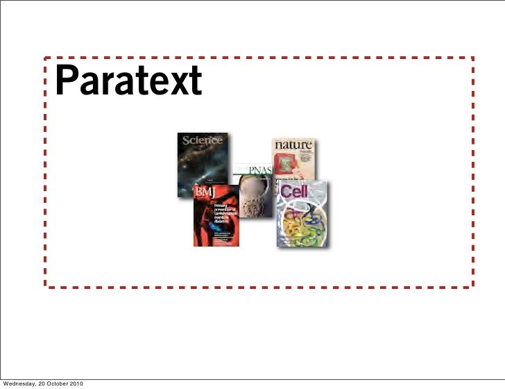 Paratext     Wednesday, 20 October 2010