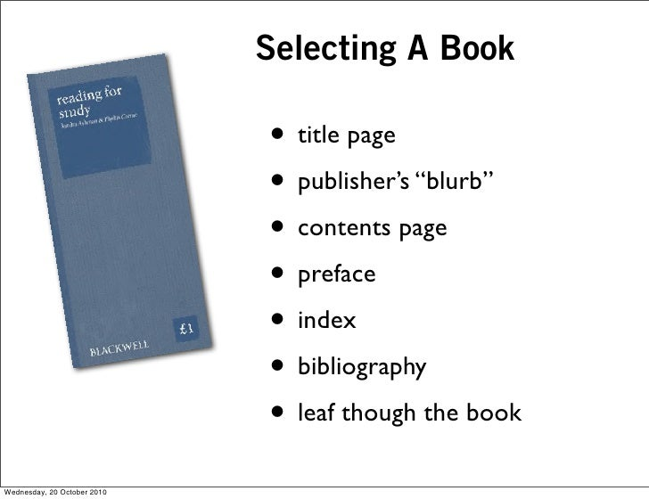 """Selecting A Book                               • title page                              • publisher's """"blurb""""            ..."""