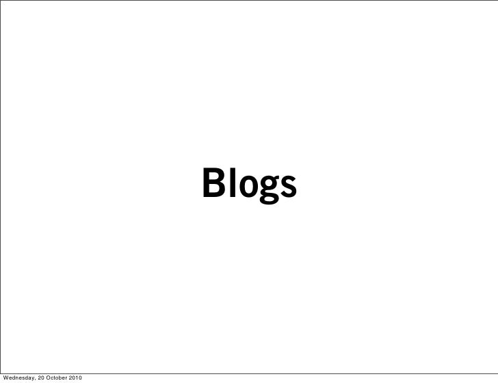 Blogs    Wednesday, 20 October 2010
