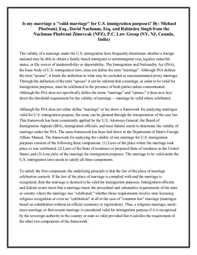 """Is my marriage a """"valid marriage"""" for U.S. immigration purposes? By: Michael Phulwani, Esq., David Nachman, Esq. and Rabin..."""