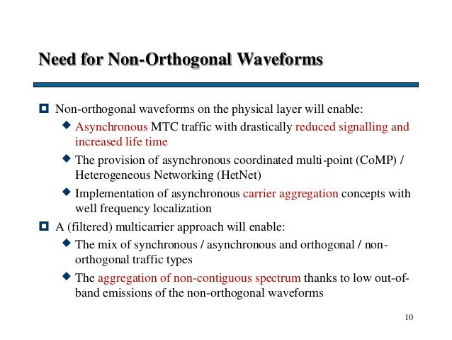 Need for Non-Orthogonal Waveforms  Non-orthogonal waveforms on the physical layer will enable:  Asynchronous MTC traffic...