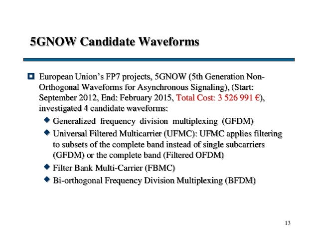 5GNOW Candidate Waveforms  European Union's FP7 projects, 5GNOW (5th Generation Non- Orthogonal Waveforms for Asynchronou...