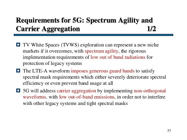 Requirements for 5G: Spectrum Agility and Carrier Aggregation 1/2  TV White Spaces (TVWS) exploration can represent a new...