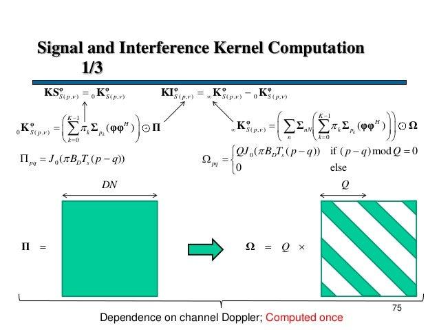 Signal and Interference Kernel Computation 1/3 1 ( , ) 0 ( )k K H S p nN k p n k                 φ K Σ...