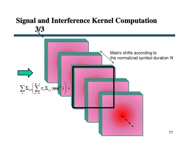 Signal and Interference Kernel Computation 3/3 Matrix shifts according to the normalized symbol duration N 77 1 0 ( )k K H...