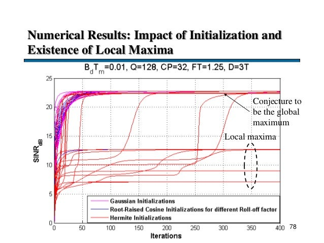 Numerical Results: Impact of Initialization and Existence of Local Maxima 78 Local maxima Conjecture to be the global maxi...