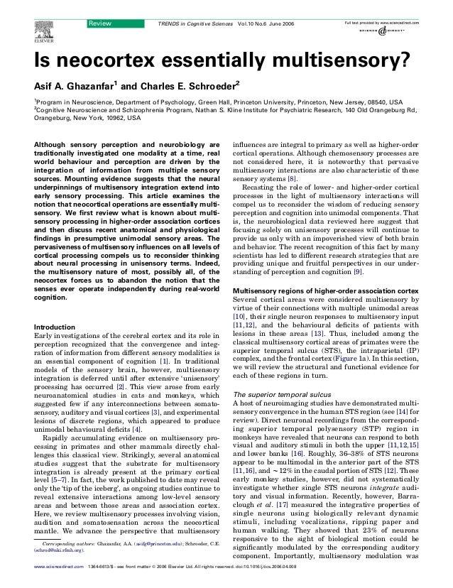 Is neocortex essentially multisensory? Asif A. Ghazanfar1 and Charles E. Schroeder2 1 Program in Neuroscience, Department ...