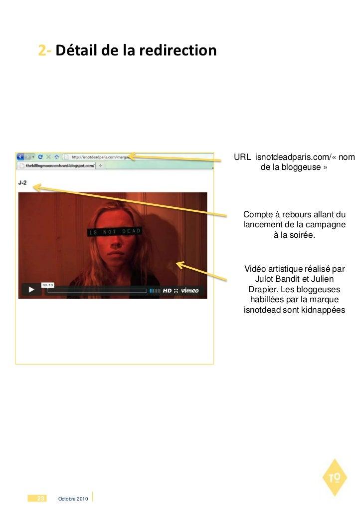 2- Détail de la redirection                              URL isnotdeadparis.com/« nom                                    d...