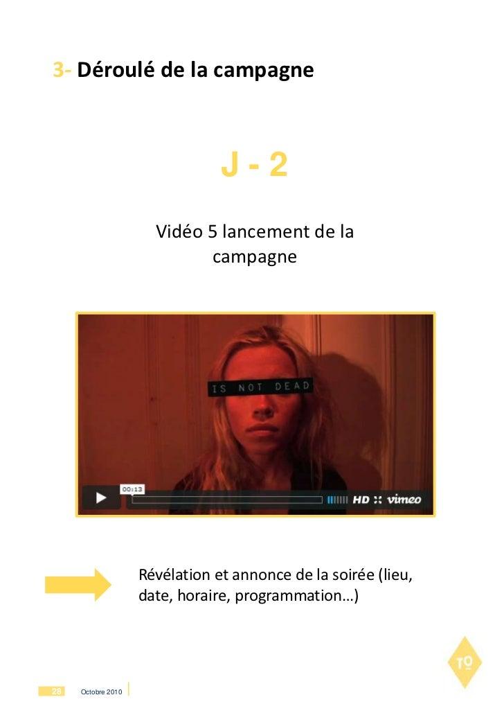 3- Déroulé de la campagne                                J-2                      Vidéo 5 lancement de la                 ...